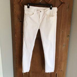 Zara Z1975 white destroyed skinny jeans